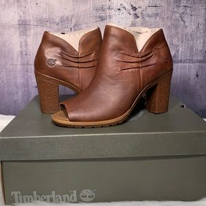 Women Glancy Rouched Peep Toe Boot